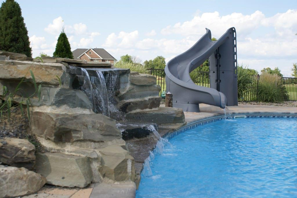 Pools With Slides And Waterfalls Backyard Design Ideas