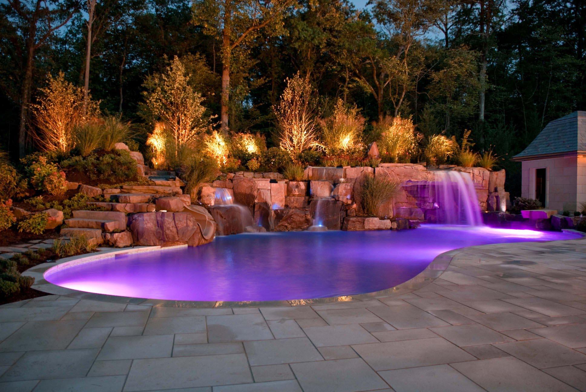 Rock Waterfalls For Inground Pools Backyard Design Ideas