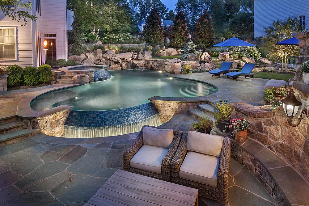 Rock Waterfalls For Swimming Pools Backyard Design Ideas