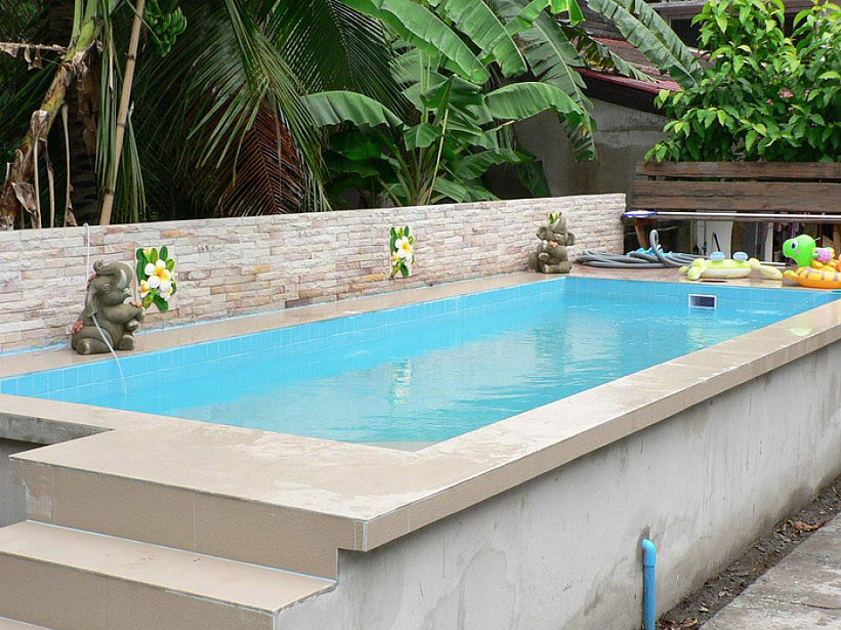 Small above ground swimming pools backyard design ideas for Above ground pool decks for small yards