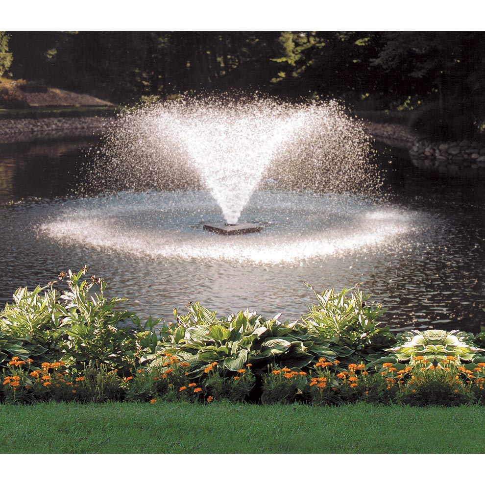 Solar powered small pond fountains pumps backyard design for Pond with fountain