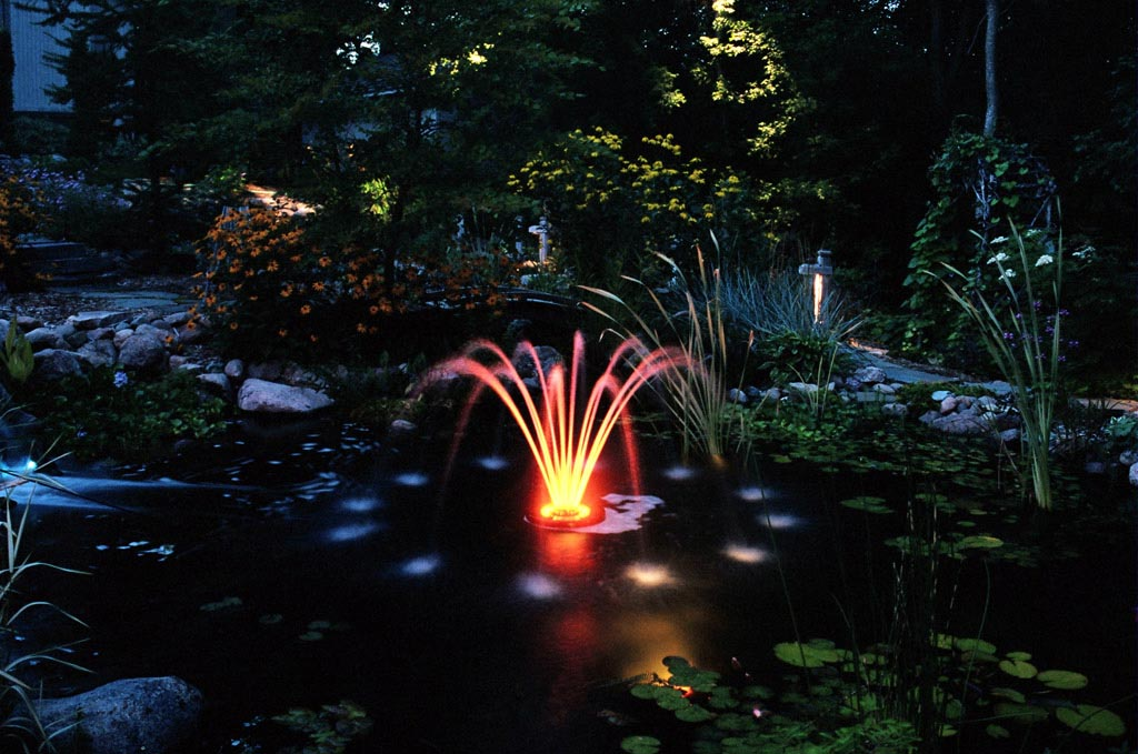 Small Pond Fountains With Lights Backyard Design Ideas