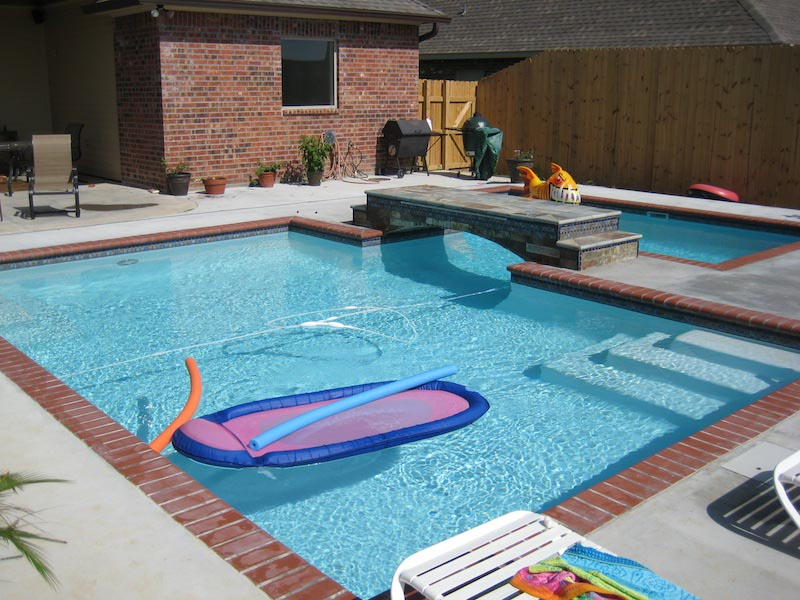 Swimming pool brick coping backyard design ideas for In ground pool coping ideas