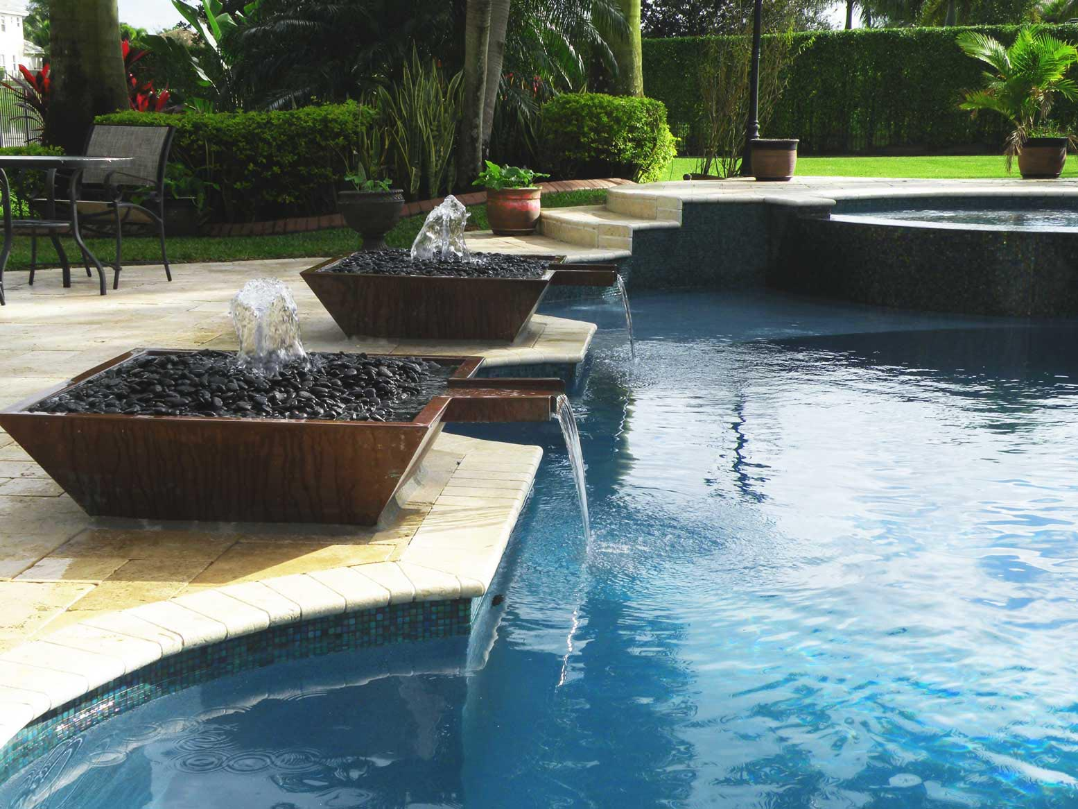 Swimming pool fountains waterfalls backyard design ideas for Swimming pool fountains waterfalls