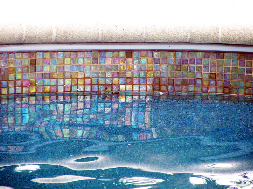 Swimming Pool Glass Tile Backyard Design Ideas