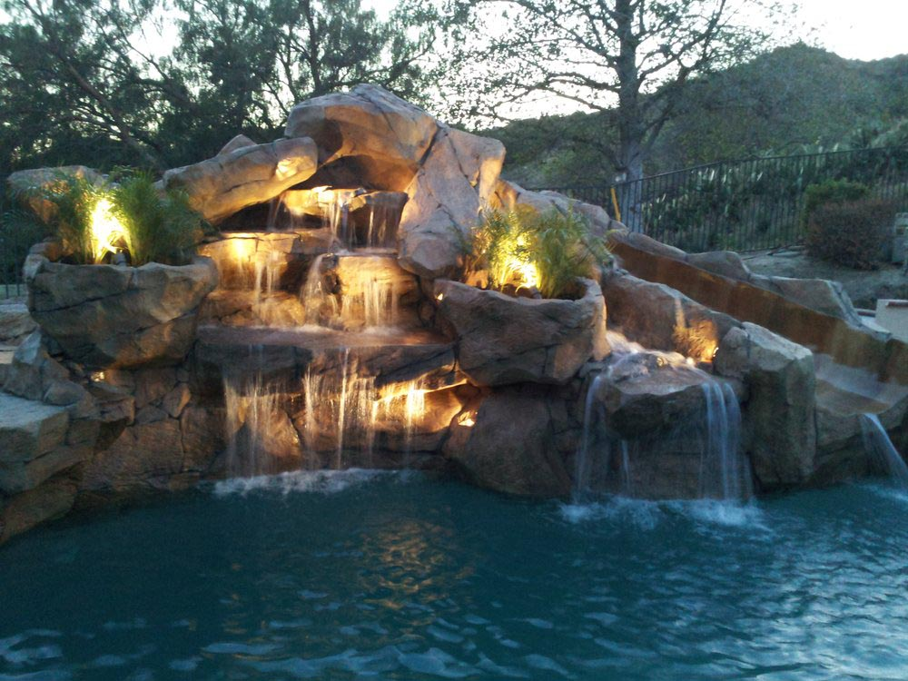 swimming pool rock waterfalls backyard design ideas