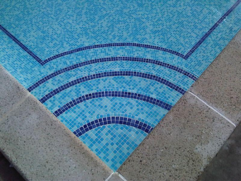 Swimming pool tile adhesive backyard design ideas for Swimming pool tile pictures