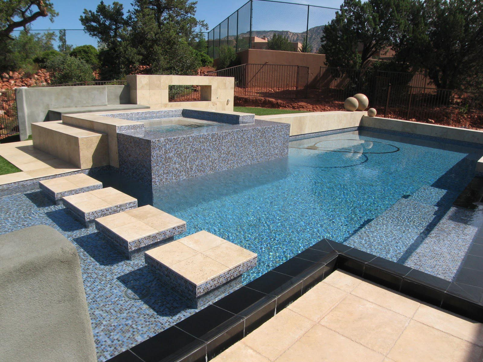 Swimming pool tile mortar backyard design ideas for Swimming pool tile pictures