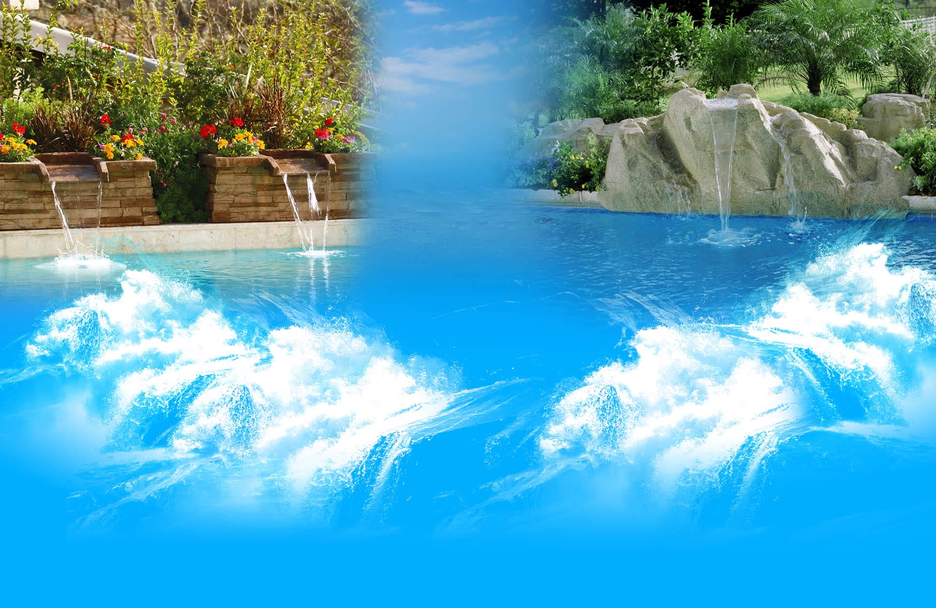 Swimming Pool with Waterfall