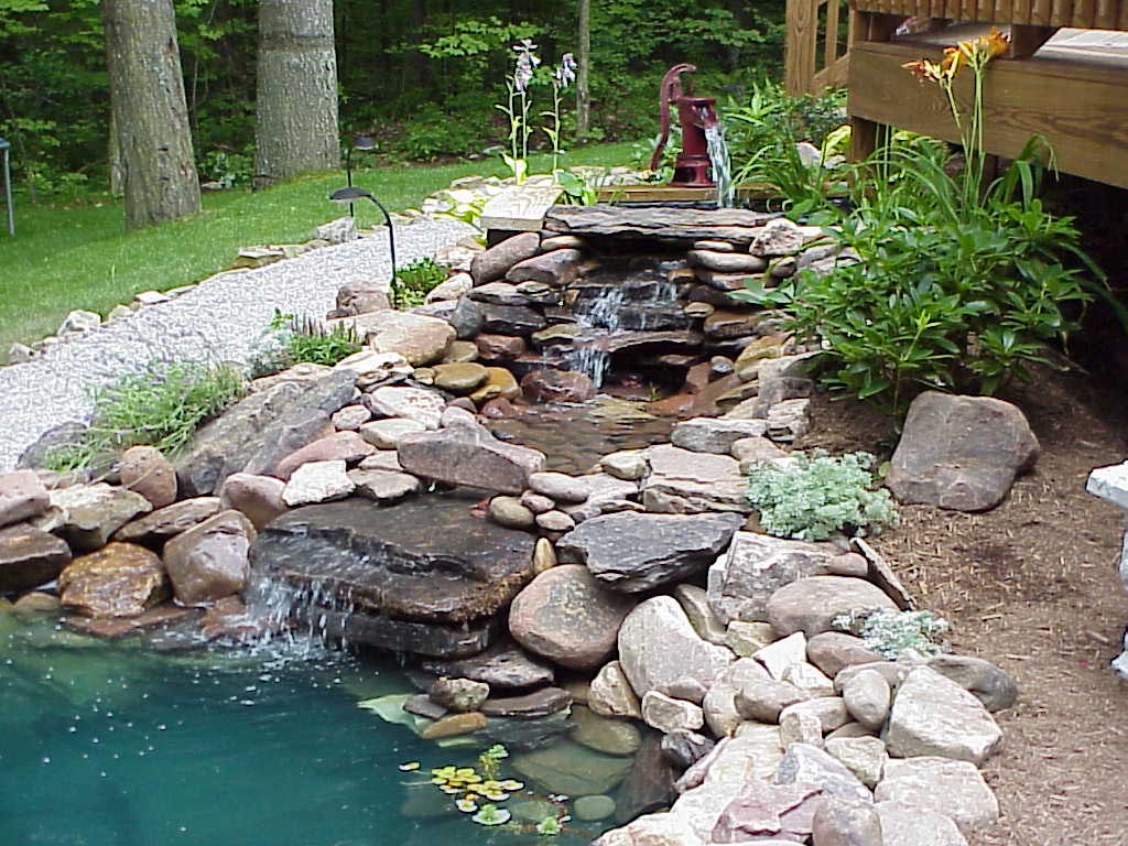 Water fountains for small ponds backyard design ideas for Small garden pond with fountain